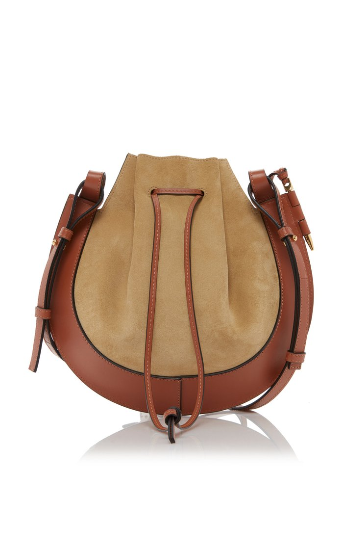 Horseshoe Suede and Calfskin Leather Crossbody Bag