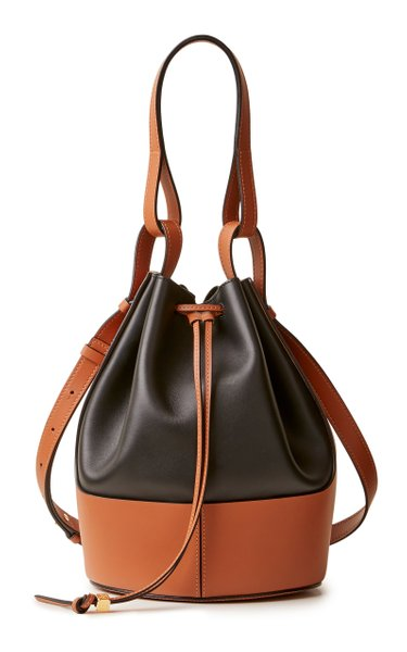 Small Balloon Two-Tone Leather Shoulder Bag