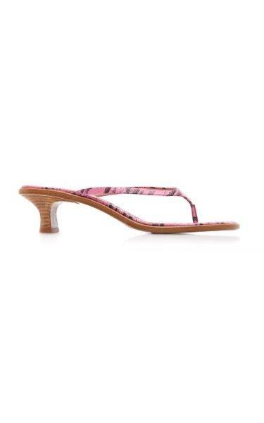Alix Lizard-Effect Leather Sandals