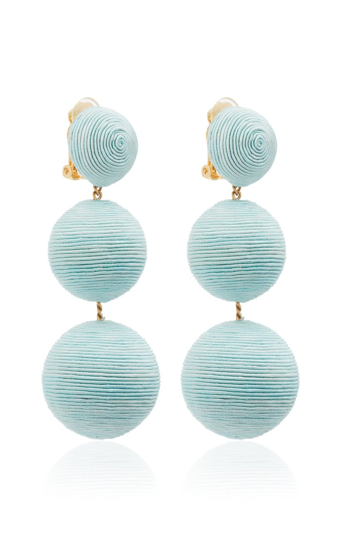 Classic Three-Drop Brass and Cording Earrings