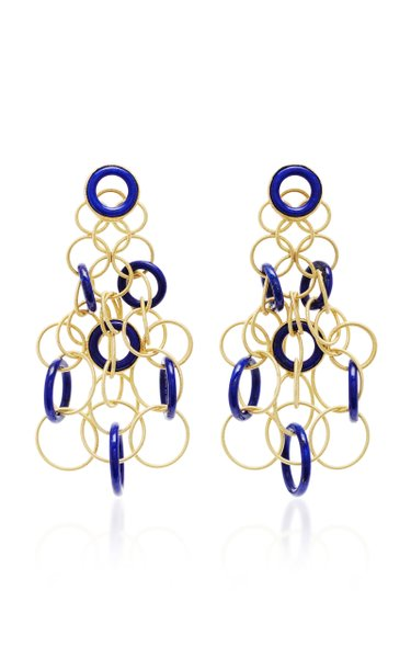 Hawaii 18K Gold And Lapis Earrings