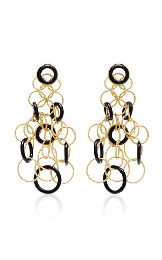 Hawaii 18K Gold And Onyx Earrings