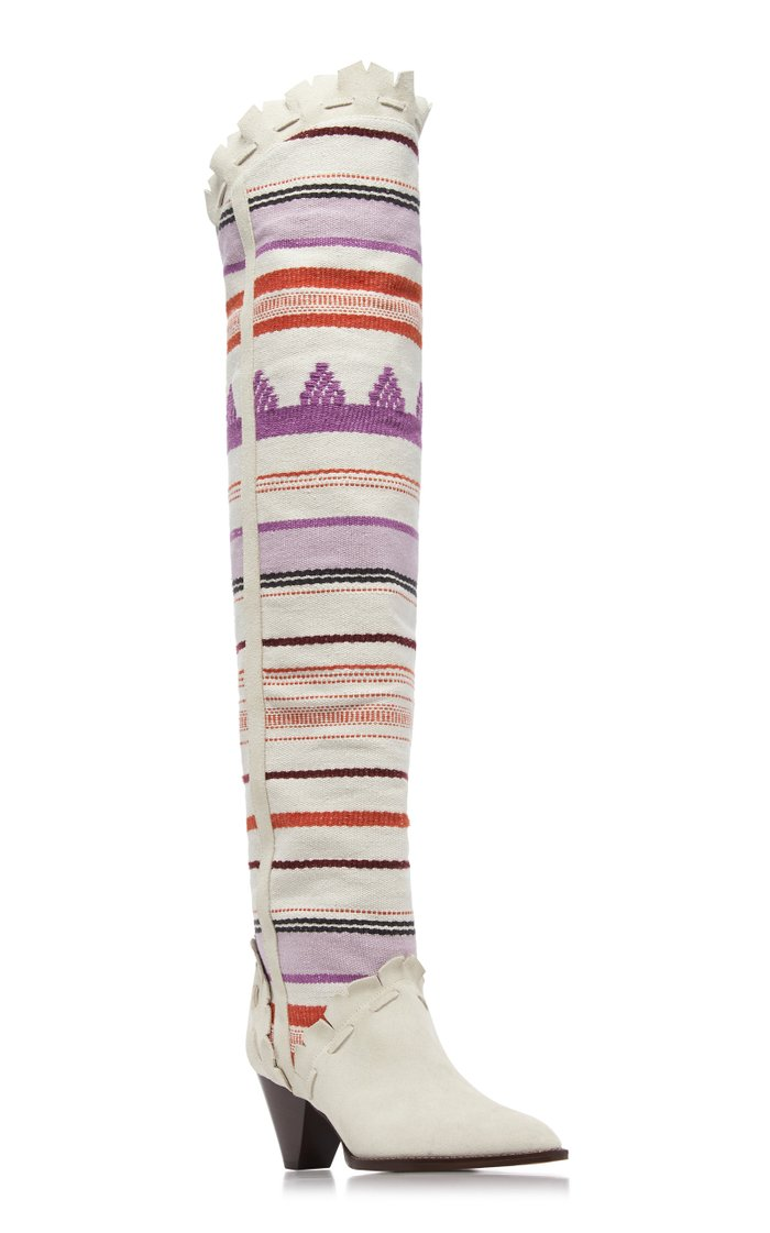 Luiz Embroidered Cotton-Blend Over-The-Knee Boots