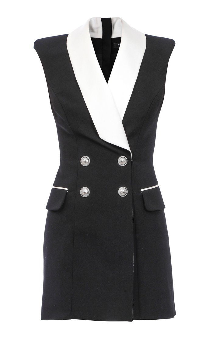 Satin-Trimmed Crepe Mini Blazer Dress
