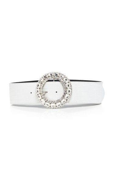 Crystal-Embellished Croc-Effect Leather Belt