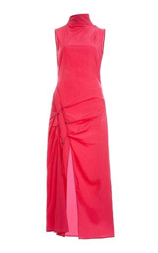 Dna Spiral Tie-Detailed Cotton Midi Dress
