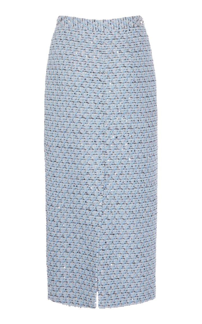 Sequined Tweed Midi Skirt