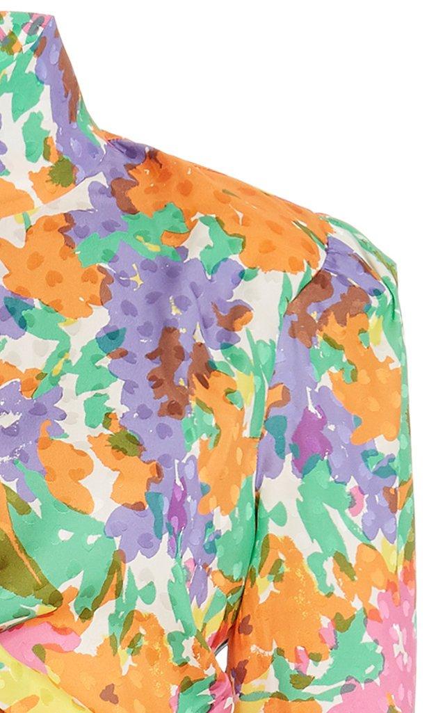 Floral-Print Draped Silk Jacquard Dress