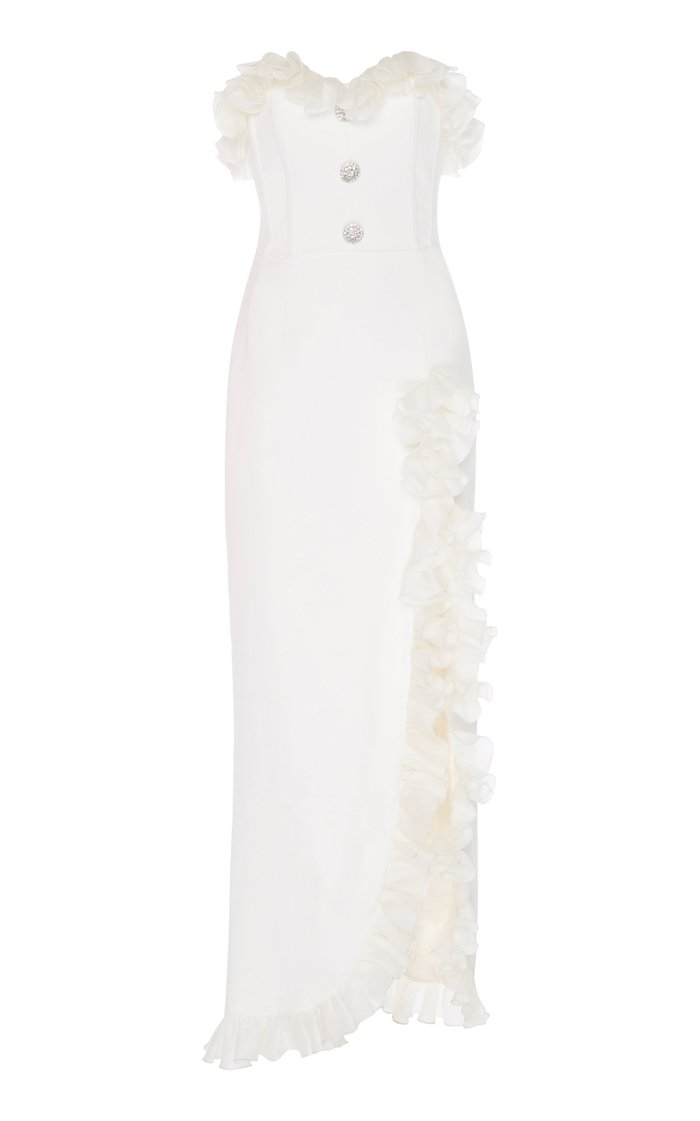 Ruffle-Trimmed Button-Embellished Cady Gown