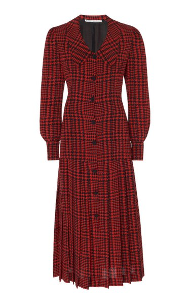 Pleated Houndstooth Silk Midi Dress