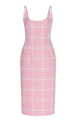 Houndstooth Tweed Midi Dress