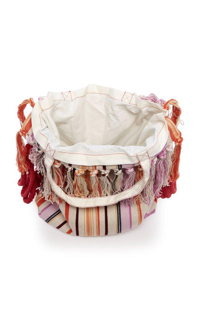 Marakoo Tasseled Striped Cotton-Linen Shoulder Bag