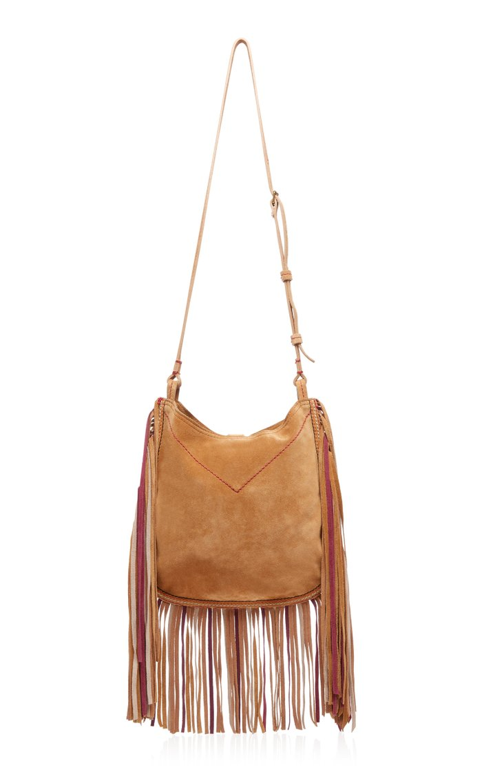 Usko Fringed Embroidered Suede Shoulder Bag