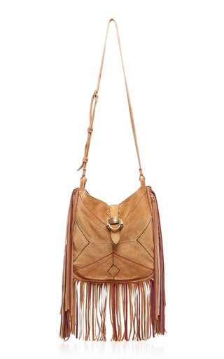 Usko Fringed Embroidered Suede Shoulder Bag