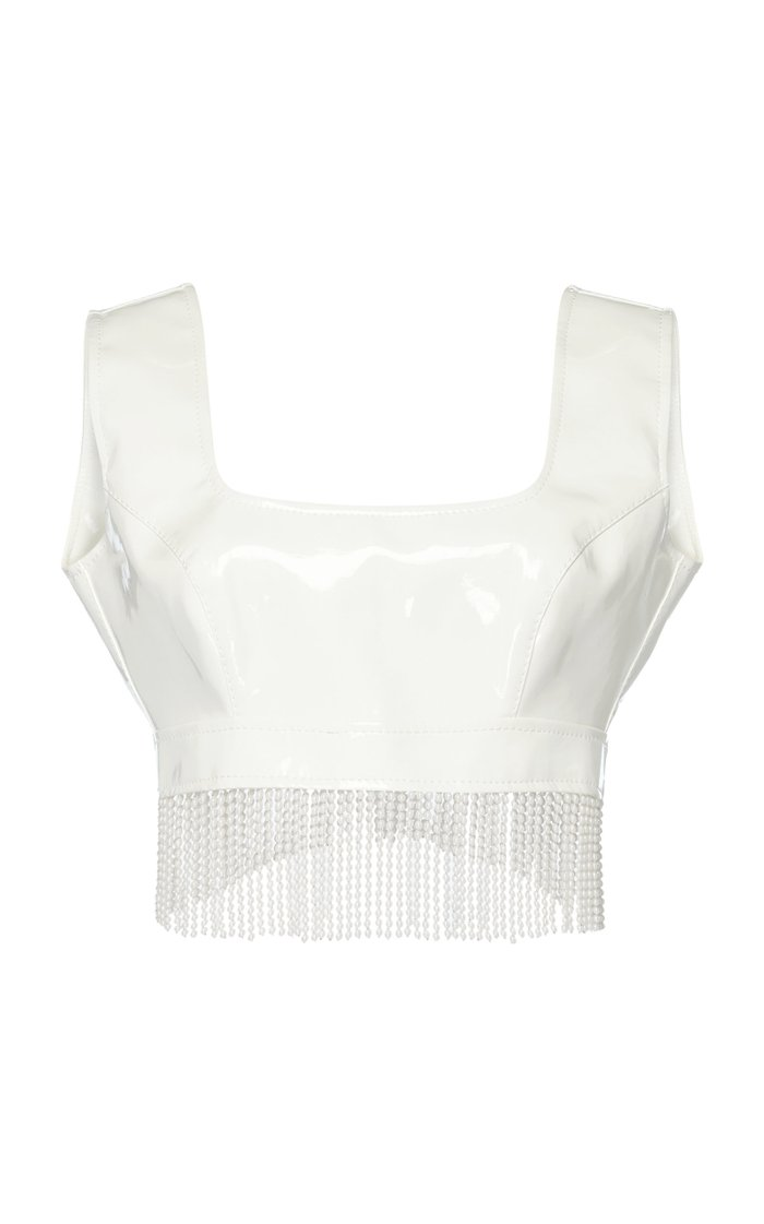 Pearl-Fringed Cropped Vinyl Top