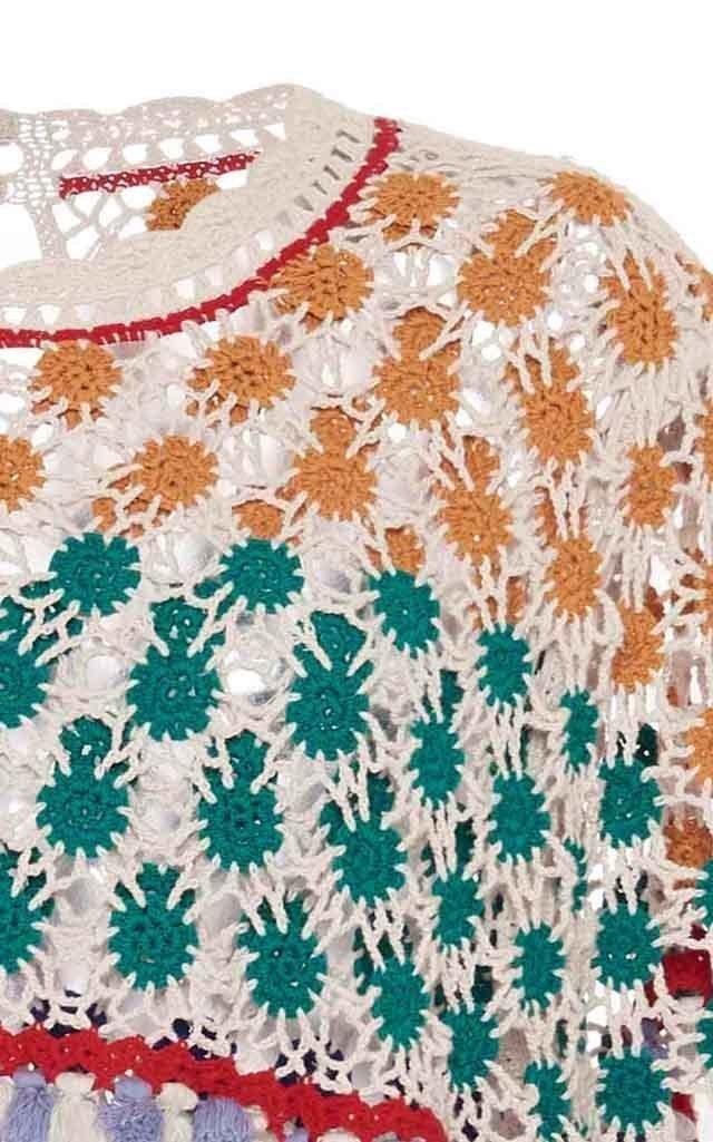 Delma Crochet-Knit Cotton Top
