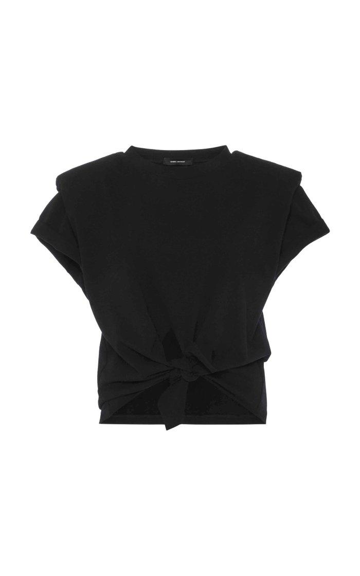 Belita Knot-Detailed Cotton-Jersey T-Shirt