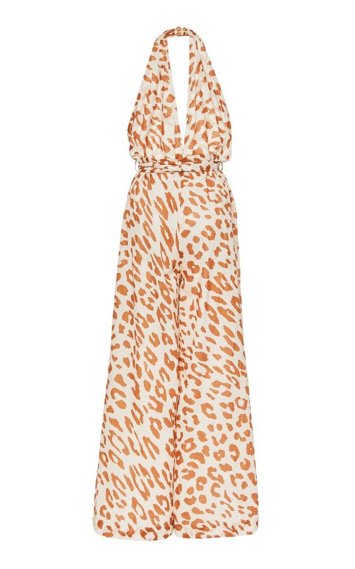 Alayna Leopard-Print Cotton-Twill Jumpsuit