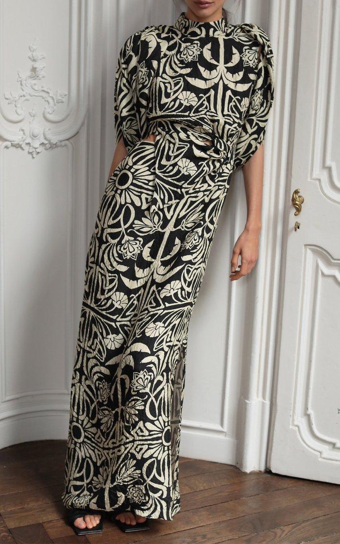 Tropical Mola Printed Silk Maxi Dress
