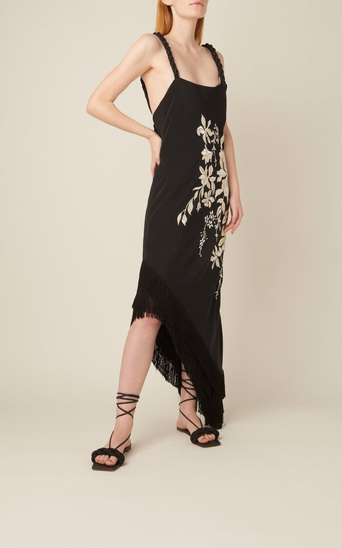 Focus And Flower Embroidered Silk Midi Dress