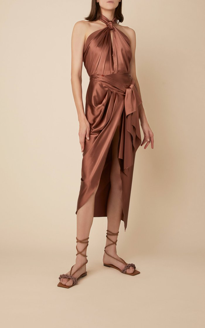 City Scape Knotted Silk Halterneck Top