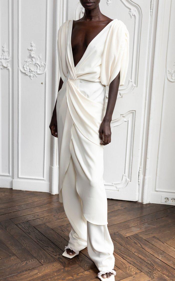 Classic Meets Cuba Draped Crepe Midi Dress