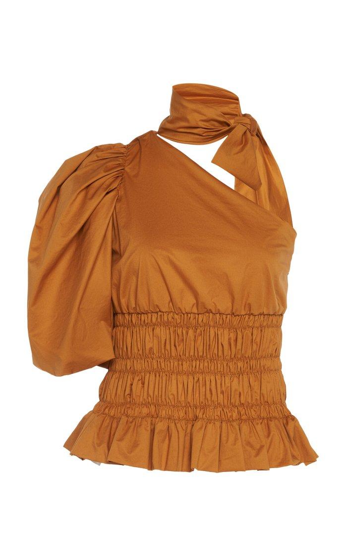 Ritmo Loco Single-Sleeve Cotton-Blend Top