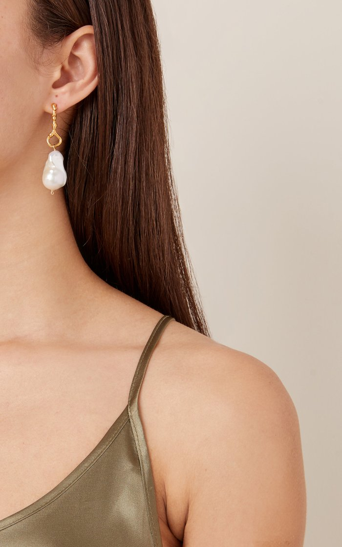 The Olive 24K Gold-Plated Pearl Earrings