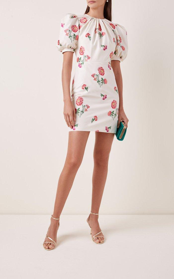 Floral-Print Satin Mini Dress