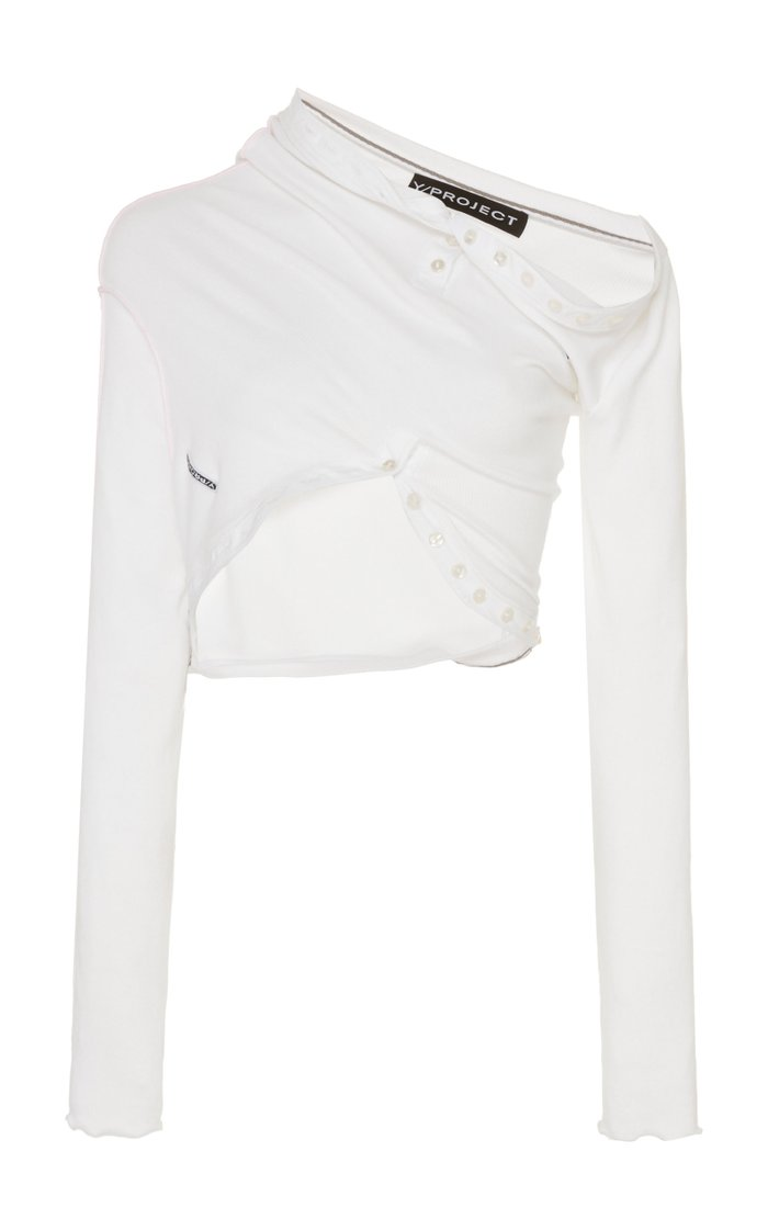 Draped Cropped Cotton-Blend Top