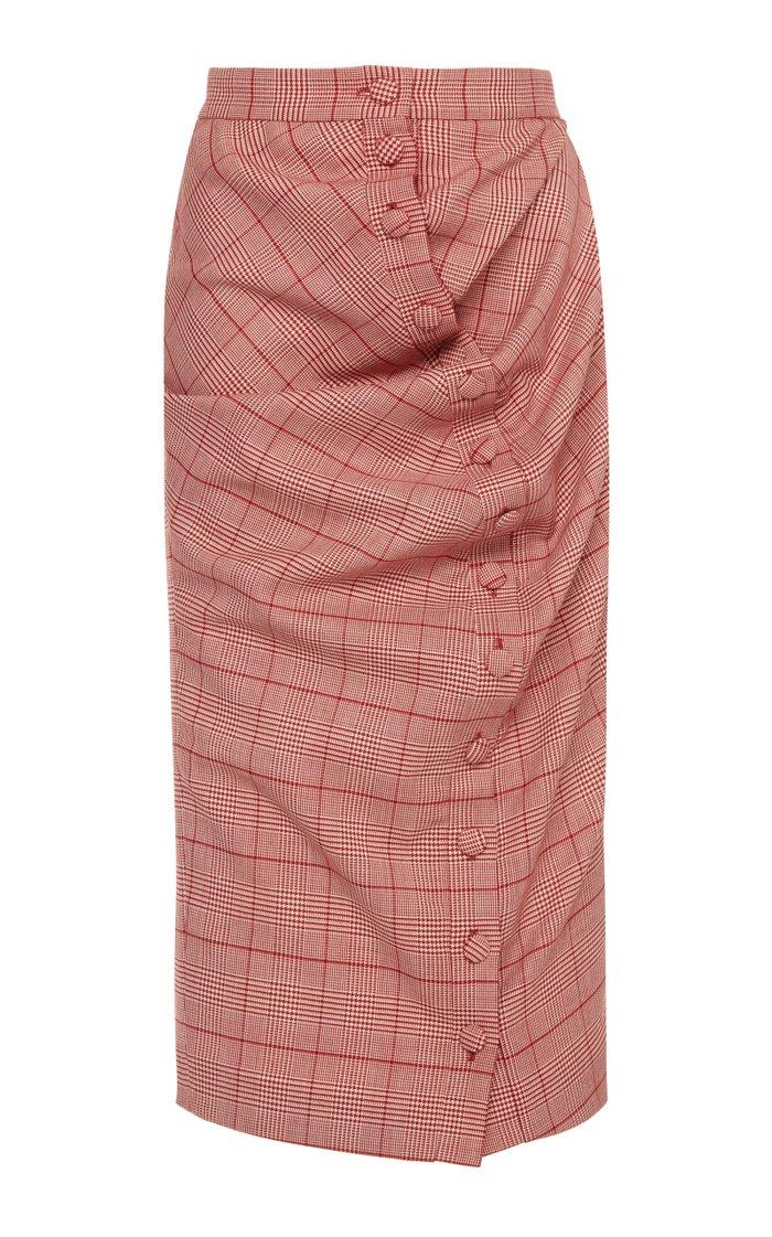 Twist-Detailed Plaid Wool Midi Skirt
