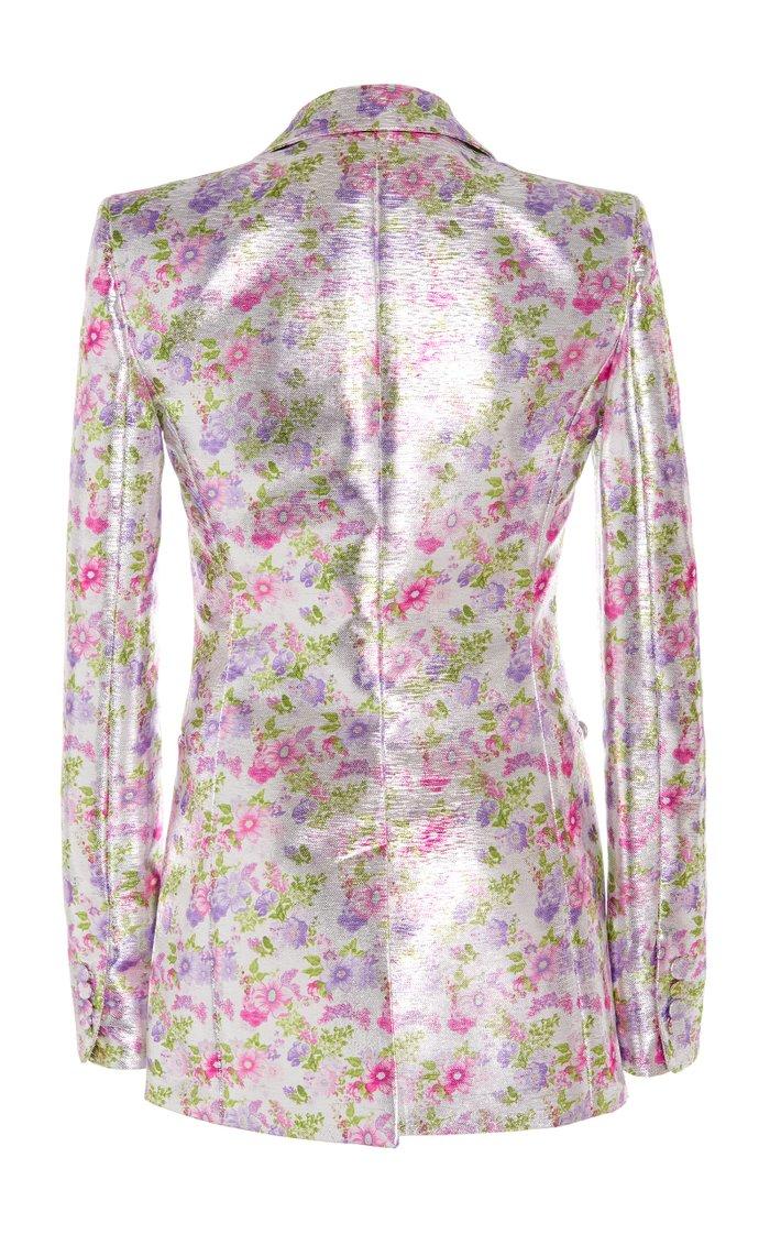 Floral-Print Lamé One-Button Blazer