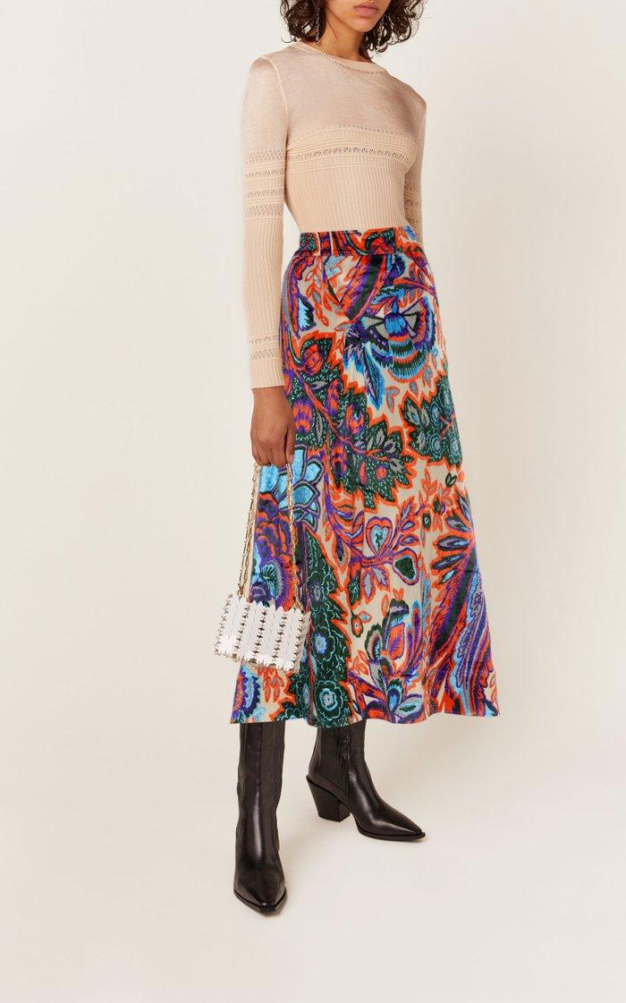 Metallic Velvet Midi Skirt