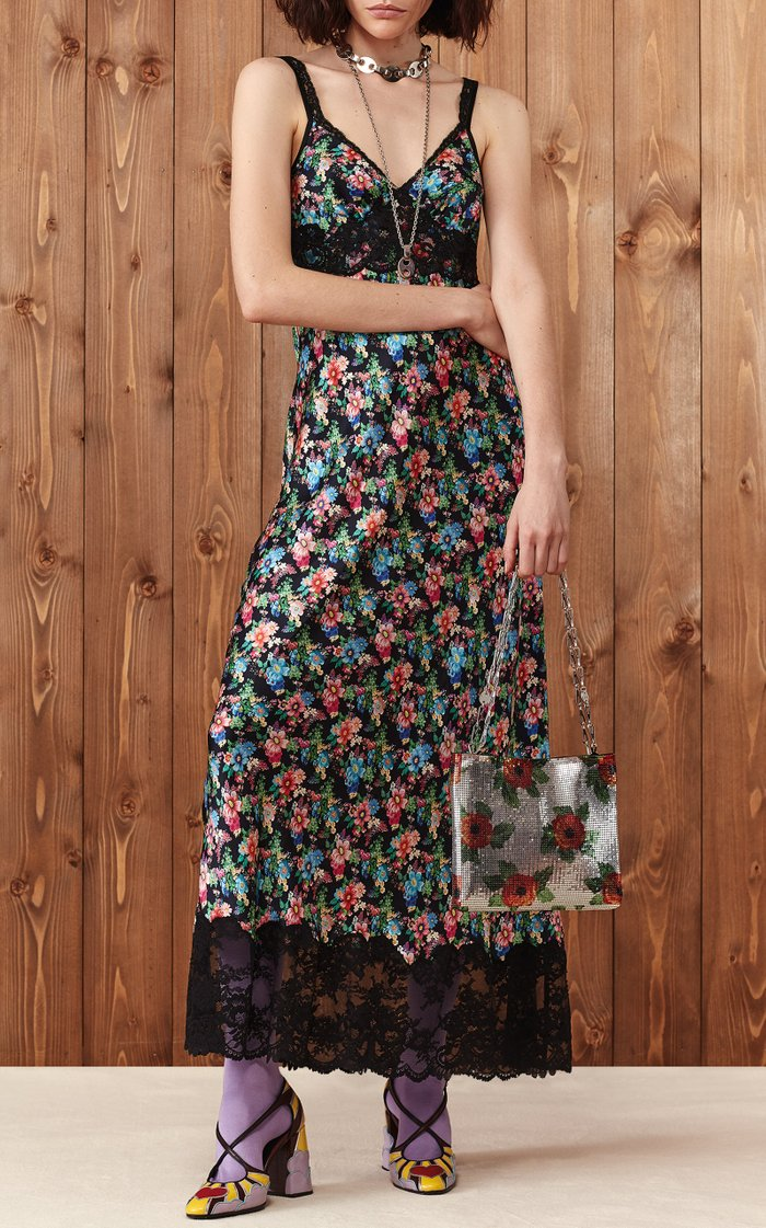 Lace-Trimmed Floral-Print Crepe De Chine Maxi Dress