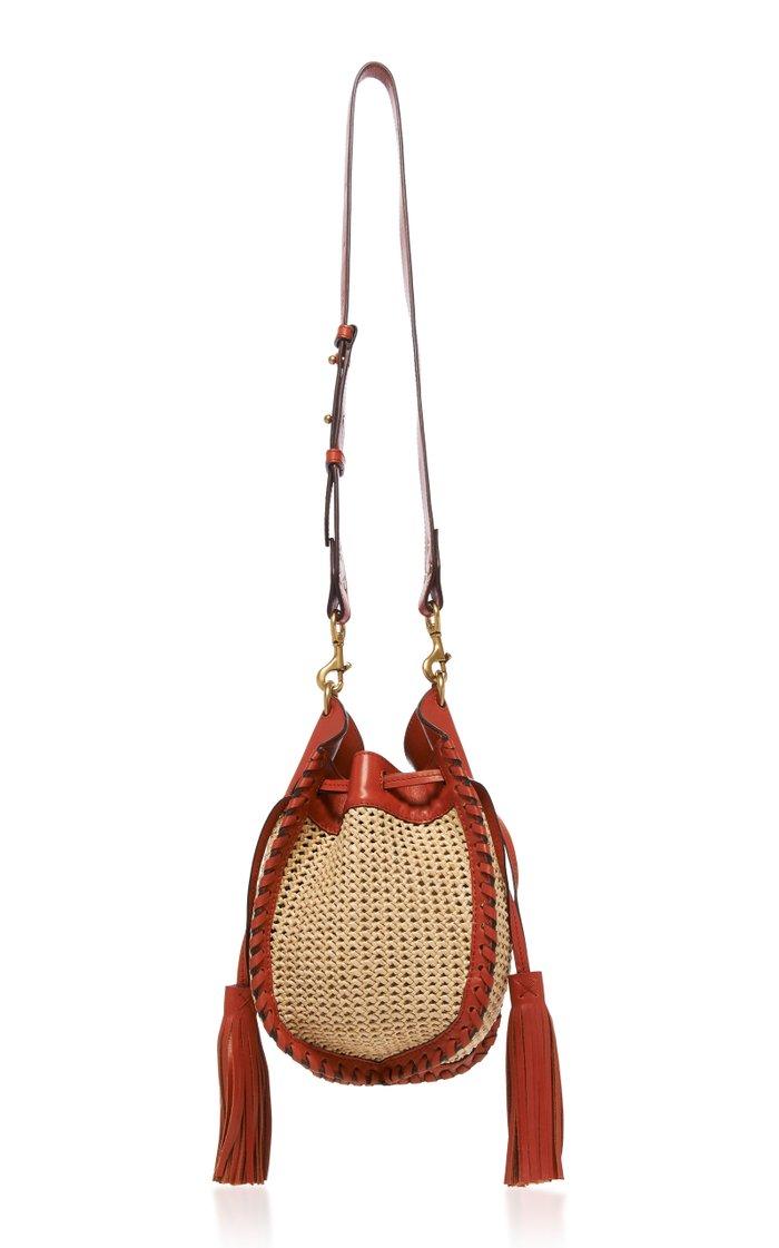 Radja Tasseled Raffia and Leather Shoulder Bag