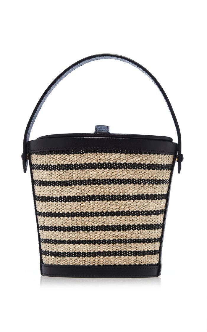 Striped Nappa Leather Bucket Bag