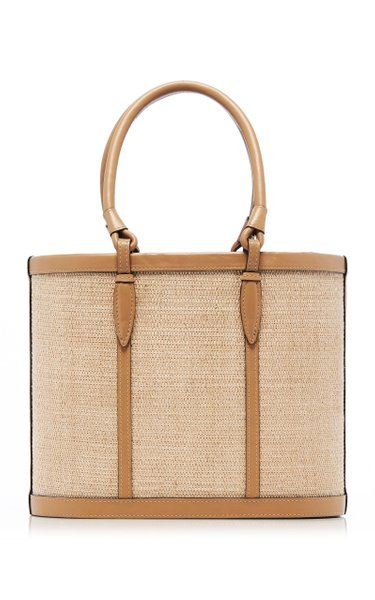 Two-Tone Nappa Leather Basket Tote
