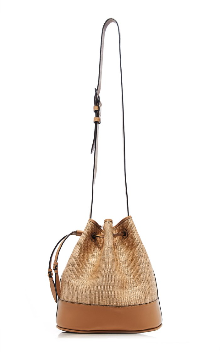 Large Two-Tone Leather Drawstring Shoulder Bag