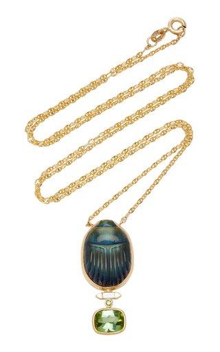 Scarab 14K Yellow-Gold Labradorite Pendant Necklace