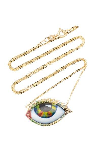 14K Yellow Gold, Ruby, Tsavorite, and Diamond Eye Necklace