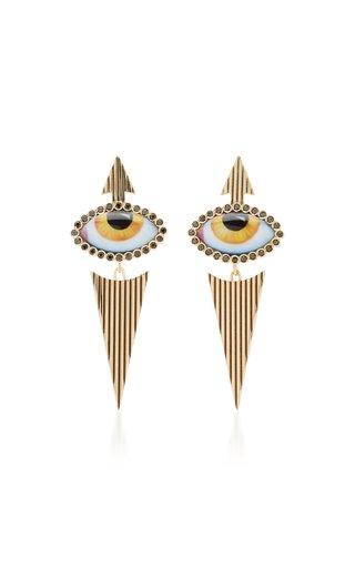 14K Yellow-Gold and Diamond Eye Earrings