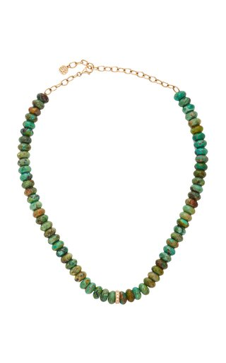 14K Yellow Gold & Diamond Rondelle Natural Turquoise Necklace