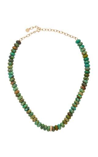14K Yellow Gold & DiamondRondelle Natural TurquoiseNecklace