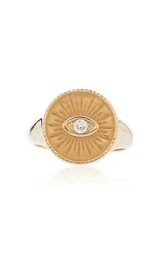 14K Yellow Gold Marquis Eye Coin Signet Ring