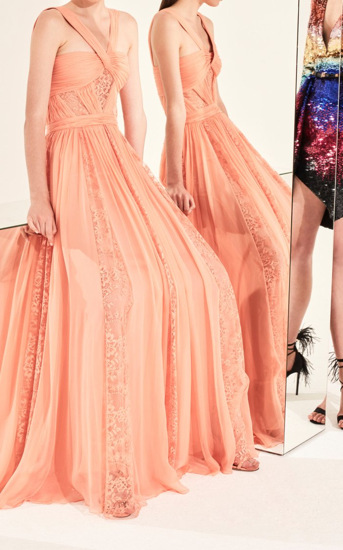 Lace-Detailed Organza Dress