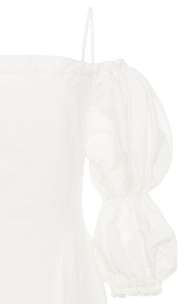 Lorna Linen-Cotton Off-The-Shoulder Midi Dress