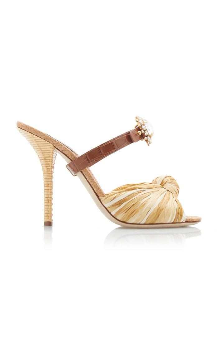 Crystal-Embellished Raffia And Leather Sandals