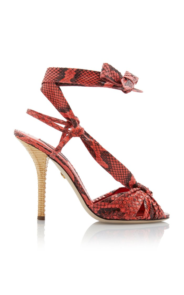 Tie-Detailed Snake-Effect Leather Sandals