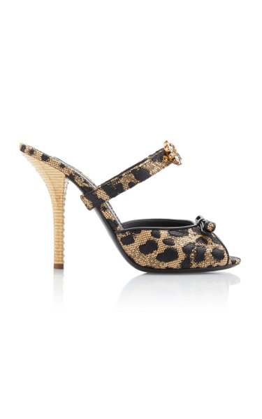 Crystal-Embellished Printed Raffia And Leather Sandals