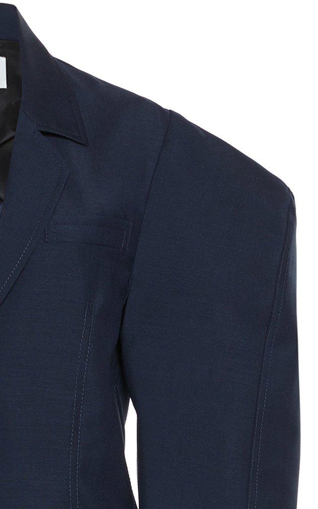 Notched Mohair-Wool Blend Blazer